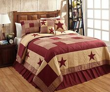 "3 Piece QUEEN ""JAMESTOWN"" BURGUNDY & TAN Quilted Bedding SET ~Country, Primitive"