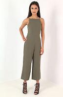Women Ladies Strappy  tie back culotte jumpsuit khaki Size 8-14 UK