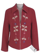 NEW! $836 Geiger Austria Boiled Wool Jacket (Coat)! 6 36  Red with Floral Design
