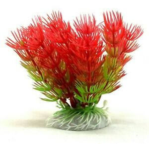 Artificial Aquarium Red Needle Bushes - 4 inch Plant - Fast Shipping