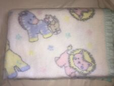 VINTAGE 100% Acrylic White Baby BLANKET Blue Yellow Horses Pink Lions Paw Prints