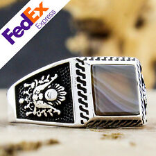 Striped Agate Stone 925 Sterling Silver Turkish Men's Ring 10.25 US Free Resize