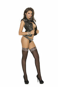Leopard Top black Hold Ups Thigh Highs STOCKING HOSIERY LINGERIE 1787 sexy