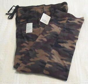 Mens Croft & Barrow Olive/Tan/Black/Brown Camo Print Fleece Lounge Pants, S, NWT
