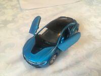 1:36 BMW i8 BLUE MODEL CAR OPENING DOORS PULLBACK
