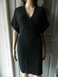 Cashmere Circle robe femmes robe tricot purement Cachemire Noir V Neck NP 209 NEUF