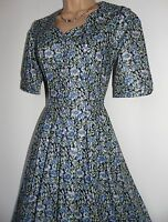 Laura Ashley vintage navy floral scalloped piped bodice pleated tea dress 12 UK