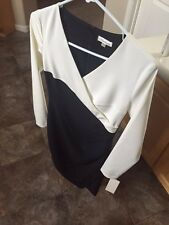 Women's Black and White Long-Sleeve Dress by Shoshanna, Size 0