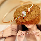Gold Plated Bangle Cuff Adjustable Womens Bracelet Fashion Cuff Rhinestone Heart