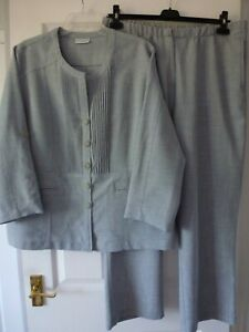 Cotswold Collections - Blue Grey Long/Short Sleeve Trouser Suit - Size 20