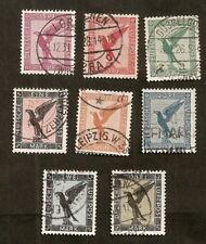 Allemagne:Poste Aérienne N°27/34 (1926)oblitérés,très beaux, cote 160€