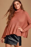 Free People Women's Size S Layer Cake Turtleneck Rose Ribbed Knit Sweater NEW