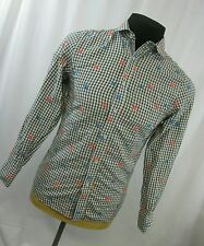 Smash Mens Long Sleeve Shirt Multicolor Floral Embroidery Check Cotton Blend S