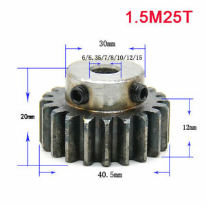 1.5Modulus 25T 45# Steel Spur Gear With Step Motor Pinion Gear With Set Screws