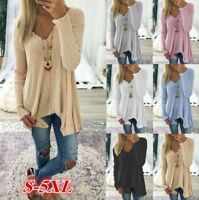 US Sexy Women Long Sleeve Tops Loose Knit Sweater V-Neck Pullovers Plus Size 5XL