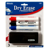 3 Color White Board Markers Office School Chisel Tip Dry Erase with Eraser