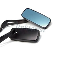 BLACK RECTANGLE MOTORCYCLE/BIKES REARVIEW MIRRORS FOR HONDA KAWASAKI SUZUKI BLUE