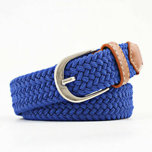 Men's Women's Leather Covered Buckle Woven Canvas Elastic Stretch Belt Waistband