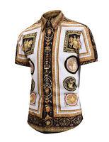 2019 Summer Men Short Sleeve Baroque Design Print Casual Dress Shirt Top Tees UK