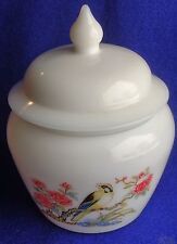 New listing Vintage Beautiful Avon White Milk Glass Ginger Jar Yellow Finch Rose Bush