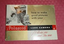 Polaroid Land Camera Model 150 and The 800 - Original Instruction Manual F1889C