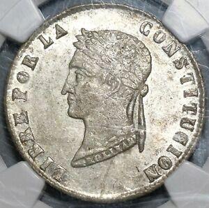 1854 NGC AU 58 Bolivia 4 Soles Alpaca Lustrous Silver Coin (20021401C)