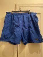 Speedo Mens Mesh Lined Polyester Solid Royal Blue Swim Trunk Shorts Pockets XL