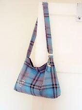 Tartan Slouchy Messenger Bag adjustable cross body strap plaid Shoulder bag