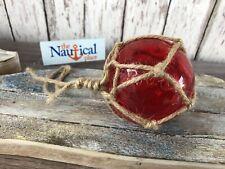 "3"" Red Glass Fishing Float - Nautical Coastal Beach Fish Net Buoy Decor"