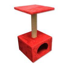 Palo rascador con gatera para gatos, color rojo