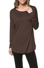 Women's Basic Long Sleeve Round Neck Solid Soft Jersey Pullover Tunic Top Shirt
