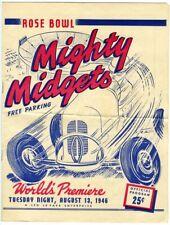1946 World Premiere MIGHTY MIDGETS AUTO RACE Rose Bowl Speedway Pasadena Program