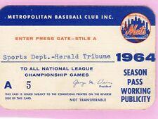 1964 Jim Bunning No-Hit GM Ticket Pass New York Mets /Phillies/Detroit Tigers