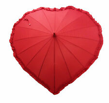 Red Heart Shaped Frill Detail Automatic Umbrella for Sunny or Rainy Wedding Day