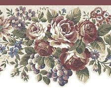 Wallpaper Border Traditional Die Cut Red Rose Floral Grapes Off White Background