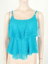 24th & Ocean Crochet Tiered Tankini Swimsuit Swim Top Turquoise S 9734 BM14