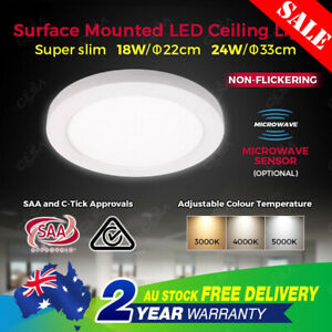 18W 24W Color Adjustable LED Oyster Ceiling Light Living Dining Room Bathroom