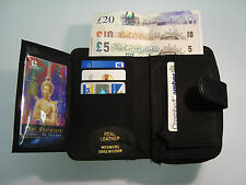 Ladies Soft Leather Purse Wallet Black With Large Coin Pocket and Many Features