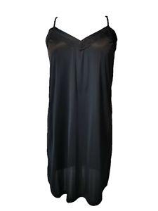 Ladies V Neck Black Lace Full Slip/ Petticoat/ Chemise Sizes 18 - 30 Plus Size