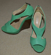 FIEBIGER Australian Designer Women Shoes Green High Wedges Gold Zipper Sz 38