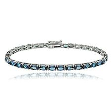 925 Silver 10.5ct London Blue Topaz Oval Tennis Bracelet, 7.5""