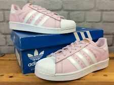ADIDAS LADIES UK 6 1/2 EU 40  PINK WHITE ROSE GOLD SUPERSTAR LEATHER TRAINERS LG