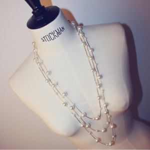 """Women Fashion Exquisite Necklace Three-layer Pearl Necklace Sweater Chain 29-36"""""""