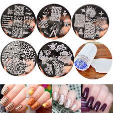 5 Design Set Nail Art Polish Manicure Image Stamping Template Plate Scraper DIY