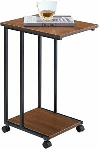 JJS Side End C Table for Sofa Living Room Couch Table Snack Table That Slide
