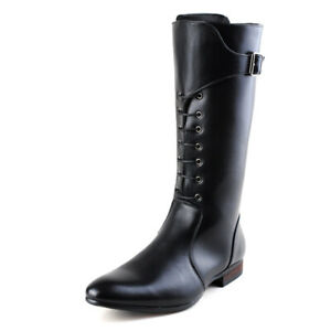 Mens British Style Pointed Toe Knee High Riding Boot Lace Up Buckle Casual Boots