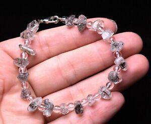 8.3g Natural Skeletal Clear Quartz Crystal Tibetan Herkimer Point Drill Bracelet