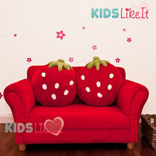 New! KIDS  2 Seater Timber STRAWBERRY SOFA COUCH Arm CHAIR w/ CUSHION RED