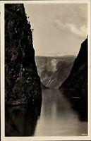 Nærøyfjord Norwegen AK ~1930/40 Aurland Fjord Felsen Berge Norge Norway Postcard