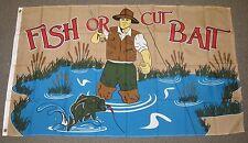 FISH OR CUT BAIT FLAG 3X5 FEET SPORT BOATING FLY FISHING TROUT 3'X5'  F906